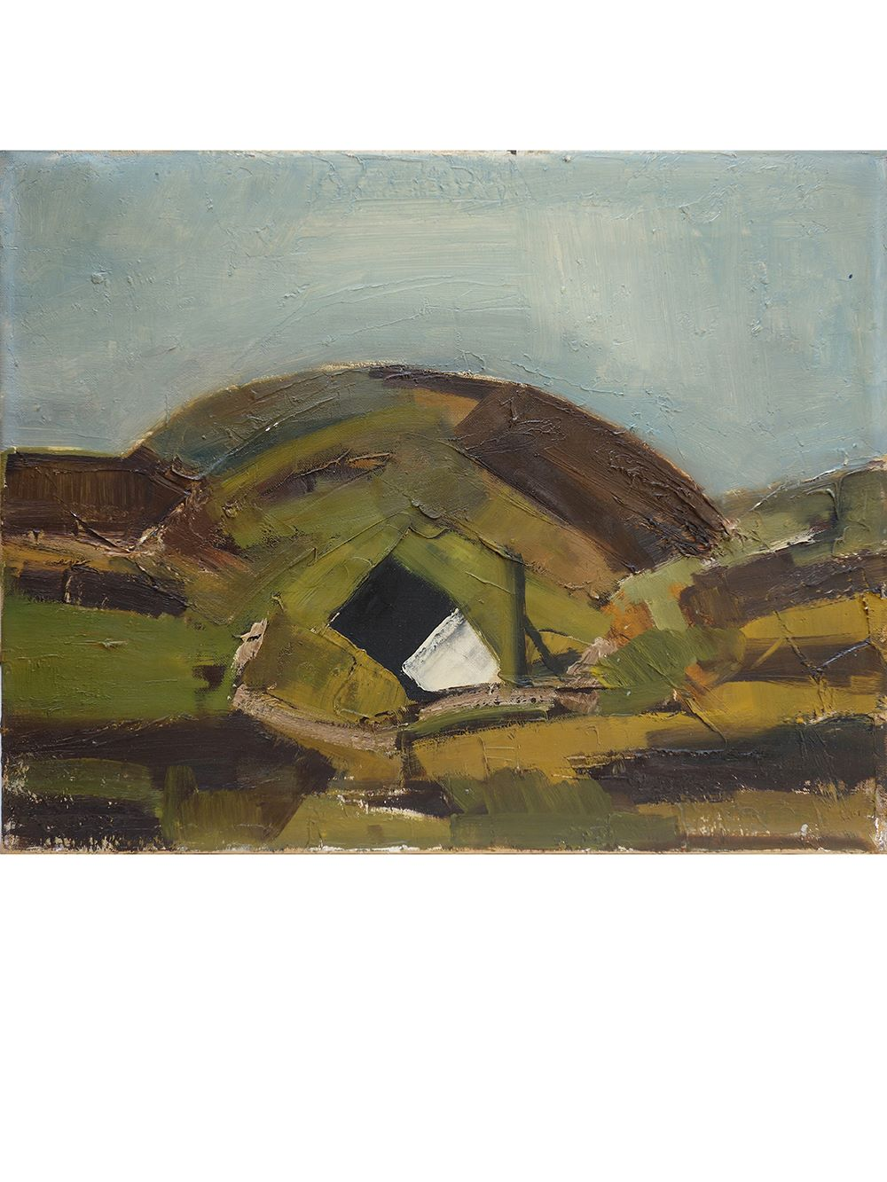 Danish – Oil on Canvas 'Landscape with House'