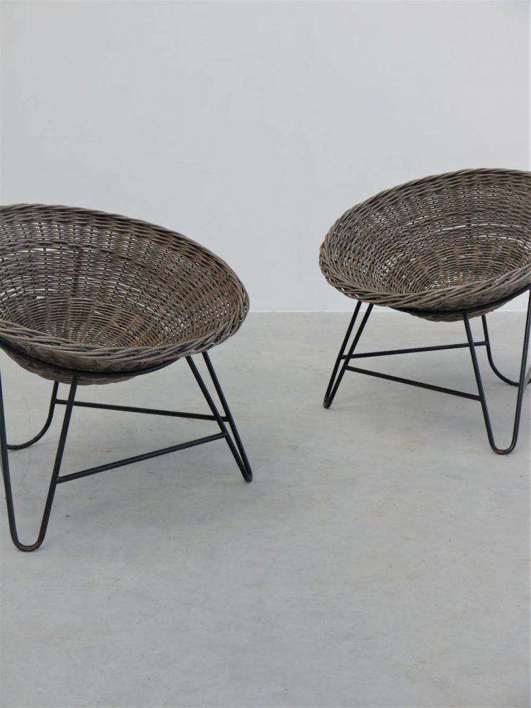 Mathieu Mategot – Pair of Wicker Lounge Chairs