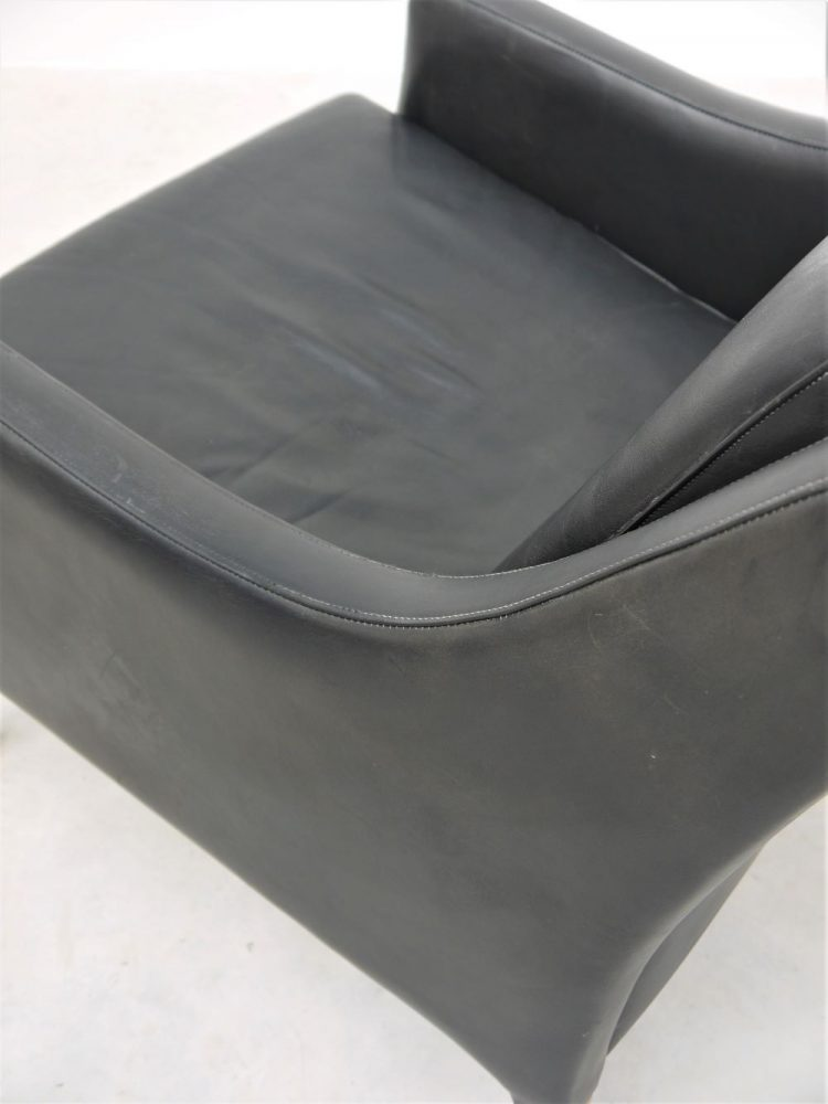 Danish – Black Leather and Rosewood Lounge Chair