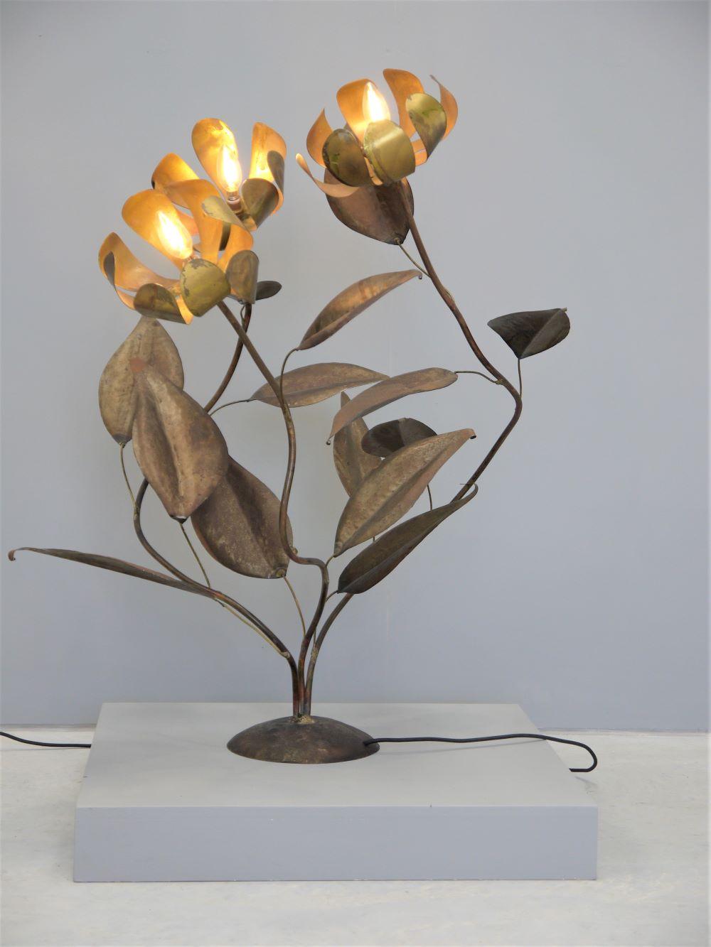 Francois Melin – Rare French Copper Flower Light
