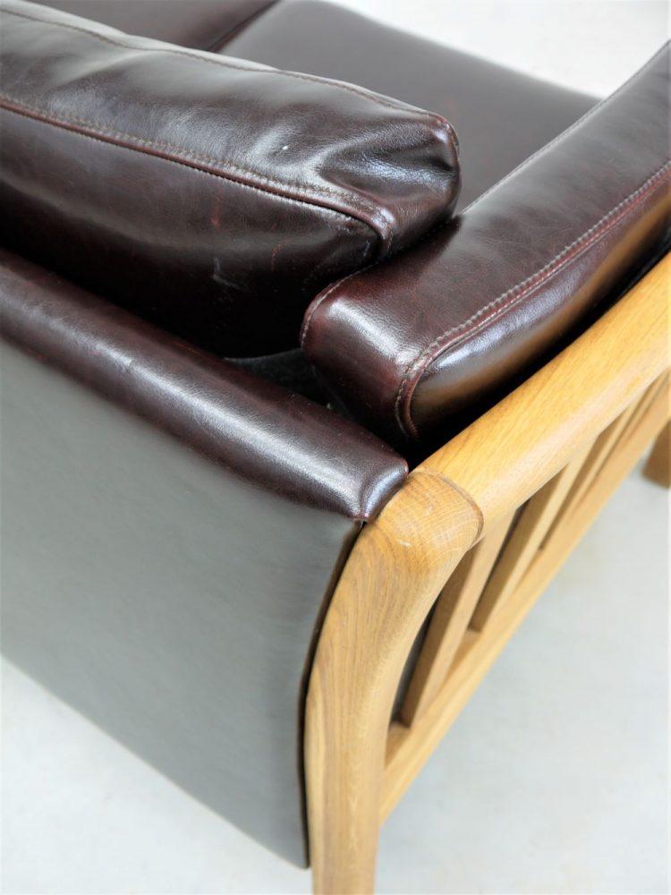 Danish – Two Seat Leather and Oak Sofa
