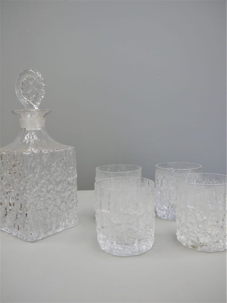 Geoffrey Baxter – Whitefriars Decanter and Four Tumblers