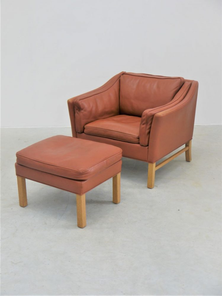 Danish – Leather Lounge Chair and Foot Stool