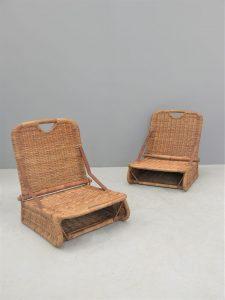 British – Pair of Wicker Picnic Basket Chairs