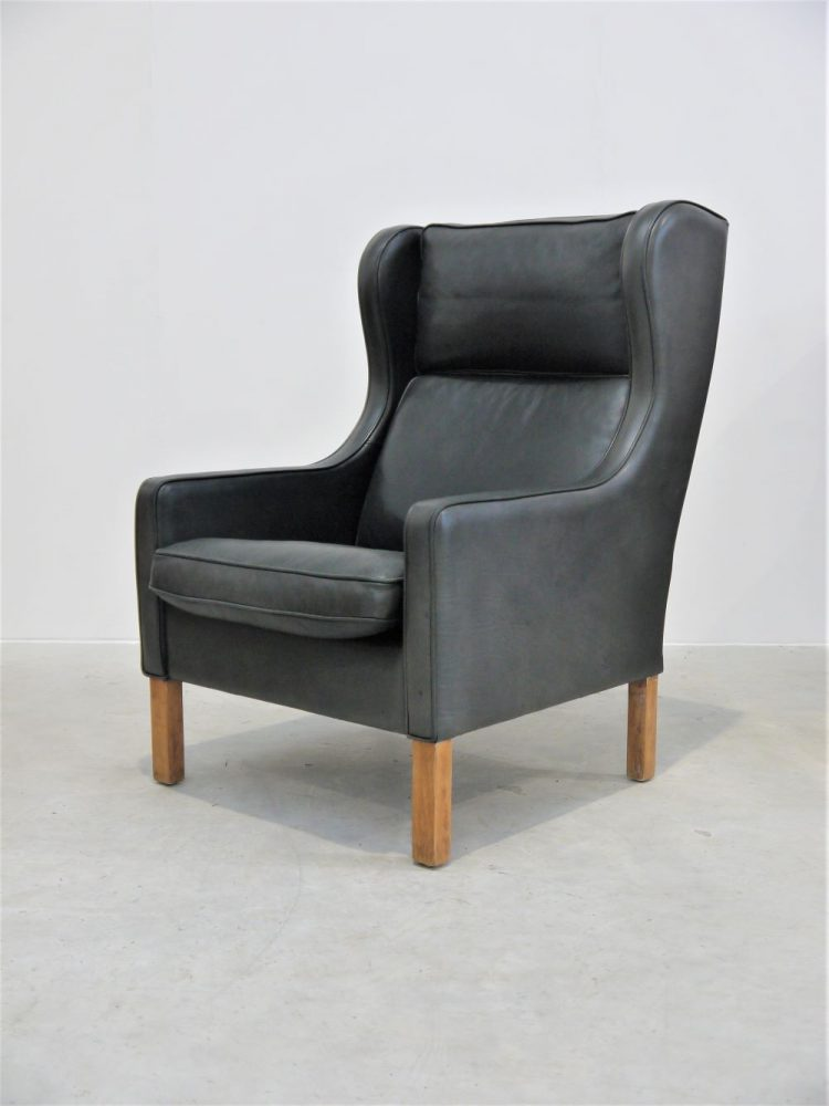 Mogens Hansen – Pair of High Back Leather Wing Chairs