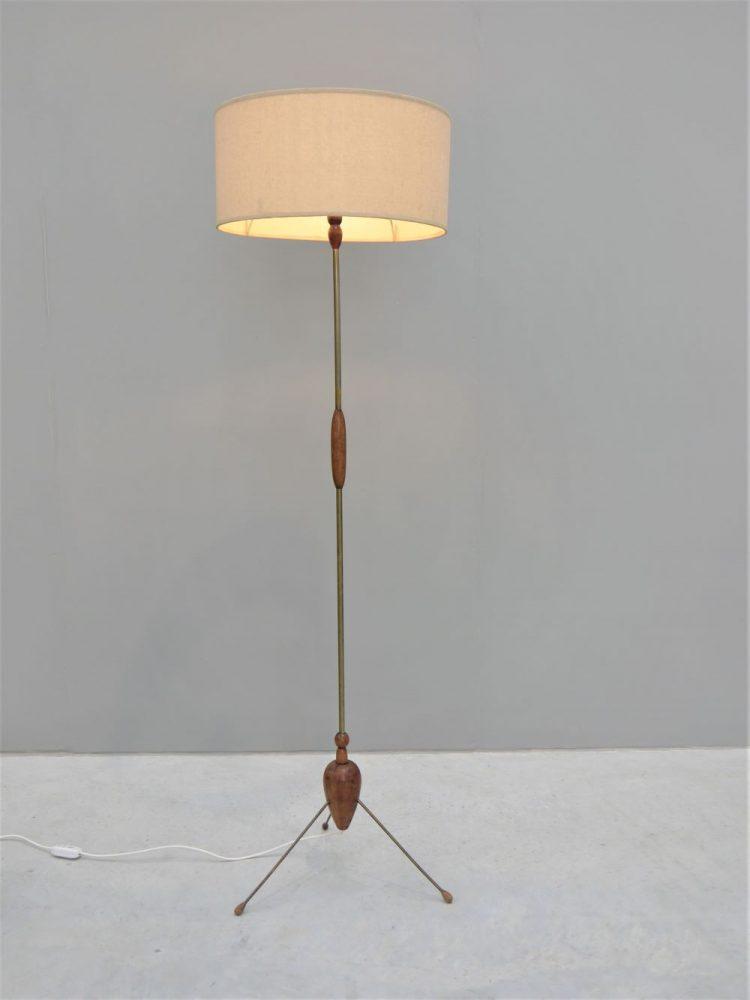 Danish – Brass and Teak Tripod Floor Lamp