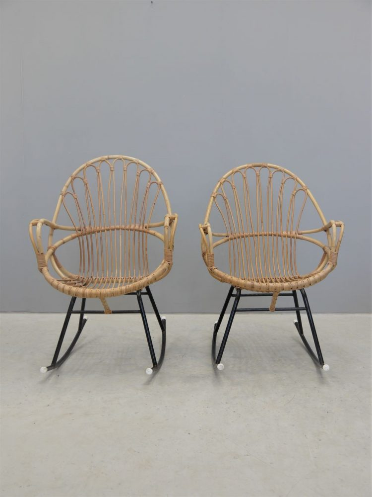Rohe Noordwolde – Pair of Cane Rocking Chairs