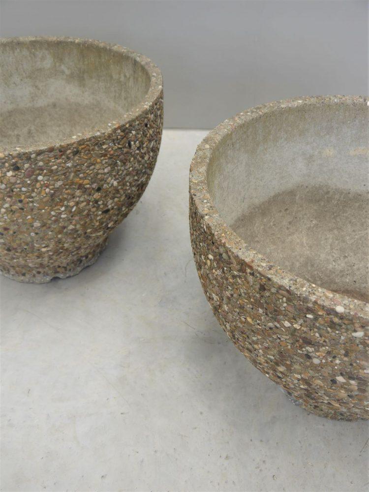 Brutalist – Pair of Large Concrete Planters