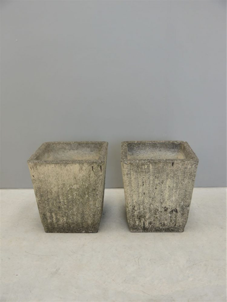 French – Pair of Large Mid-century Concrete Planters