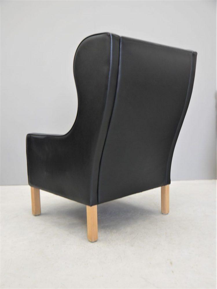 Mogens Hansen – Danish High Back Black Leather Wing Chair